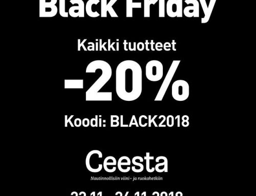 Ceestashopissa Black Friday Ale -20% koko valikoimasta koodilla BLACK2018. Lehmann Glass, Zalto, Spiegelau, Nachtmann, Glencairn, Pillivuyt, Lion Sabatier, Rösle, Tastvin viinikaapit, Wine Master Viinikellarin jäähdytysjärjestelmät- koko valikoima Alessa. Www.ceestashop.fi